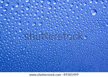 water drops on blue - stock photo