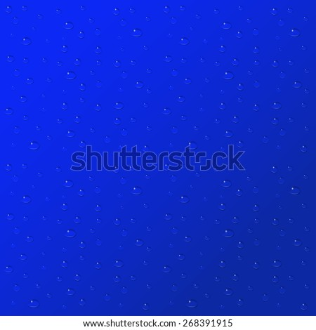 Water drops on blue background.  - stock photo