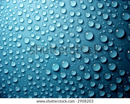 water-drops on blue background - stock photo