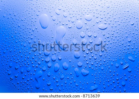 water drops on blue surface