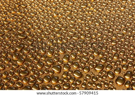 Water drops on copper - stock photo