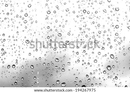 water drops on glass after rain background - stock photo