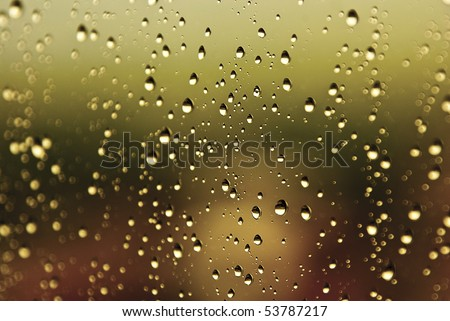 Water drops on glass - shallow depth of field - stock photo