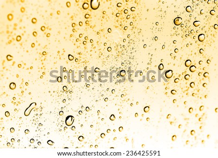 water drops on glass with gold
