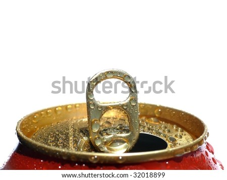 Water drops on gold tin - stock photo