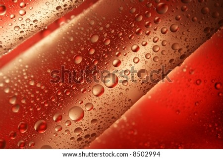 water-drops on red background - stock photo