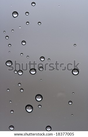 Water drops on the window glass after the rain - stock photo