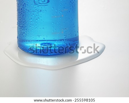 water drops on water bottle - stock photo
