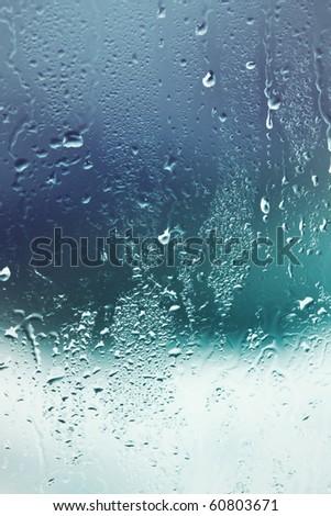 Water drops on window - stock photo