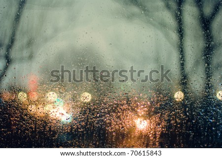 Water drops on window. Abstraction - stock photo