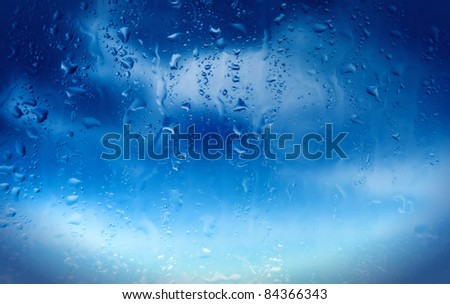 water drops on window after rain - stock photo