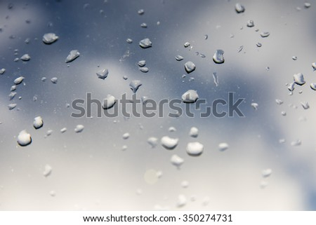 Water drops on window, cloudy background