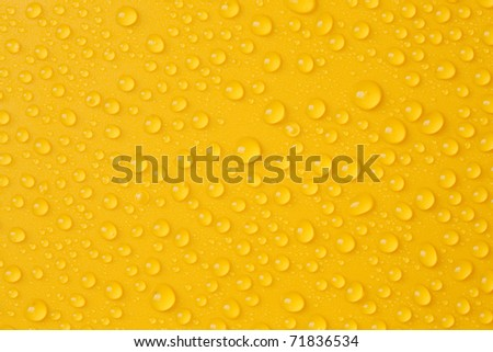 Water-drops on yellow - stock photo