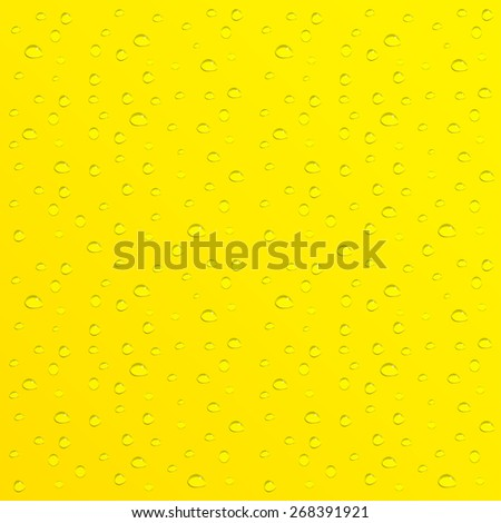 Water drops on yellow background.  - stock photo