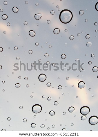 Water Drops with Sky Reflections