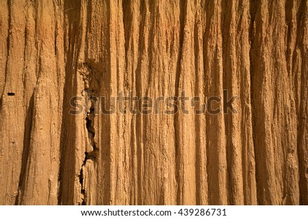 water erosion, collapse or erosion of the land for background - stock photo