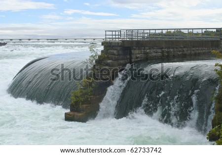 water exiting the hydro electric plant situated above the actual falls