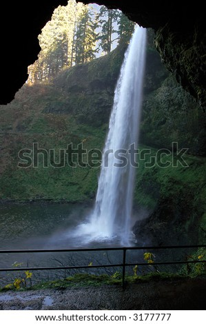 Water Fall and Cave at Silver Falls Oregon