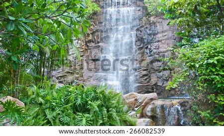 Water Fall at Sentosa - stock photo