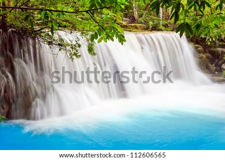 water fall , hua mae kamin level 2 kanchanaburi thailand - stock photo