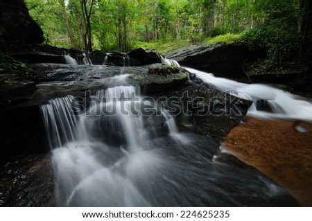 water fall. smooth stream, water fall in the forest, Thailand.