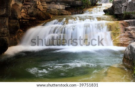 Water falls and cascades of Yun-Tai Mountain, a World Geologic Park and Scenery Site in China