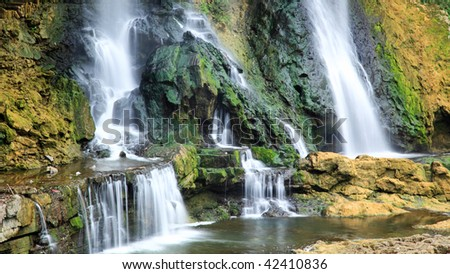 Water falls in a scenery Chinese minority village best known in the movie Furongzhen