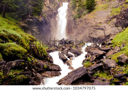 water falls on dolomites Italy
