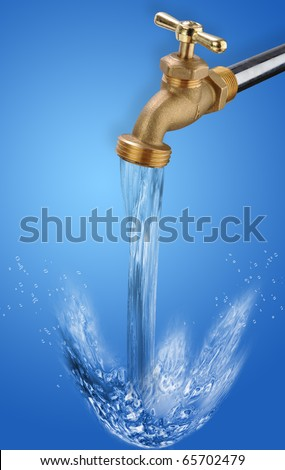 Water Faucet running clean cool water. - stock photo