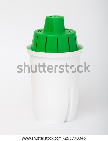 Water Filter cartridge Bio on white background - stock photo