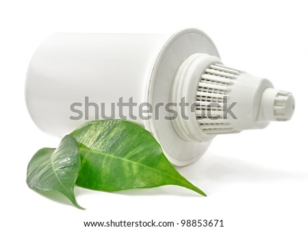 Water Filter cartridge Bio with green leaf on white background - stock photo