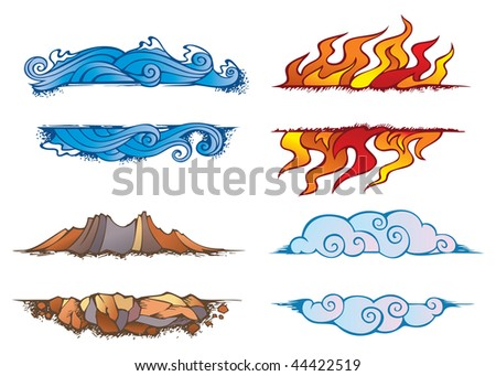 Water, Fire, Earth and Air: set of the four elements of nature in the shape of ornamental frames, raster from vector illustration - stock photo