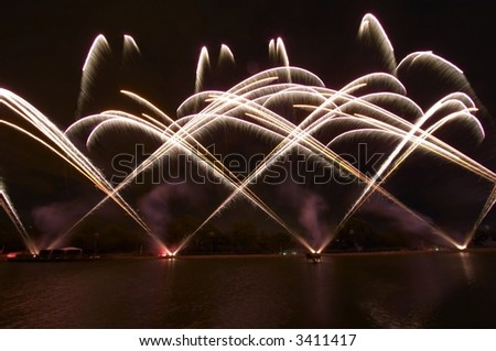 Water Fireworks - stock photo