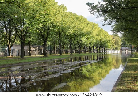 Water flooding road - stock photo