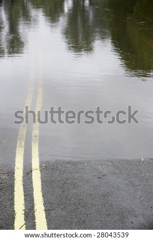 Water Flooding Roads - stock photo