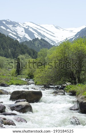 water flow over the mountains - stock photo