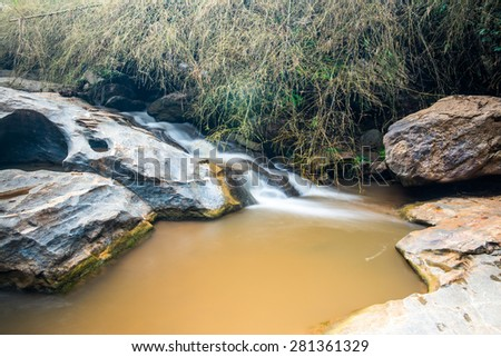 Water Flowing at Maesa Waterfall, Thailand. - stock photo