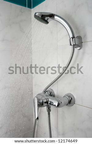 Water flowing from a shower