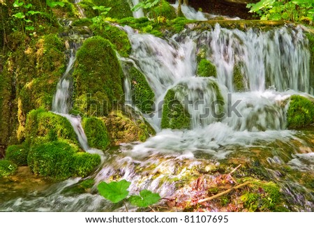 Water flowing over mossy rocks.