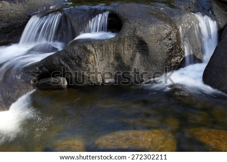 Water flowing over rocks in stream - stock photo