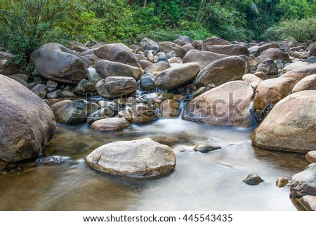 Water flowing over the rocks