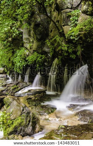 Water flows through cracks in a shear rock cliff at Los Chorros Waterfall in Costa Rica - stock photo