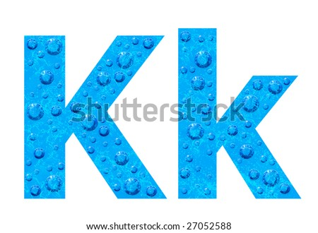 Water font. Letter K - stock photo