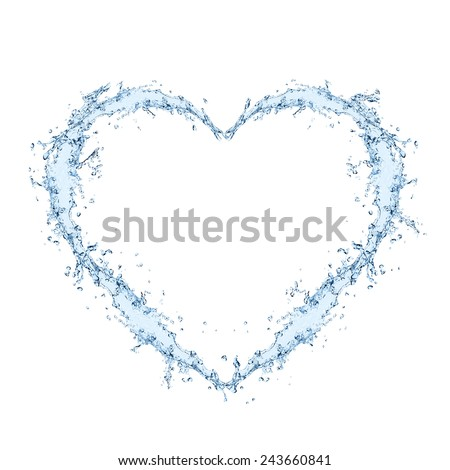 Water forming heart shape over white background - stock photo