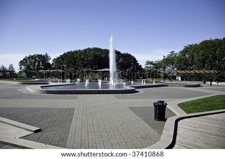 Water fountain and walkway in Vancouvers little Mountain. - stock photo