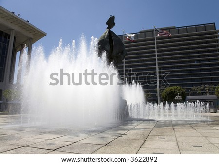 Water Fountain Art Sculpture Music Center Los Angeles - stock photo