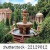 Water fountain in old park. Scenic view of decorative water fountain and structures in old park, Gelendzhik, Krasnodar Krai, Russia. - stock photo