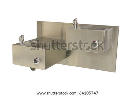 water fountain isolated on white - stock photo