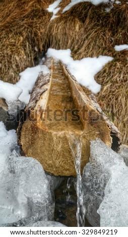 water fountaine, winter, frozen - stock photo