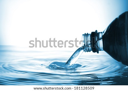 Water from water bottle with bubble forming on a white background - stock photo